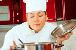 Chef tasting food aroma