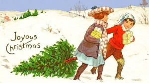 クリスマスツリーkids_dragging_Christmas_tree_1914