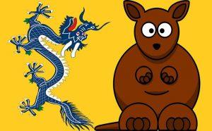 Dragon Australia Kangaroo - staff - credit Jim Wilson - Lemmling Qing Dynasty Open Clip Art