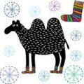 camel-with-knitted-socks-and-snowflakes-hand-drawn-illustration_160654574